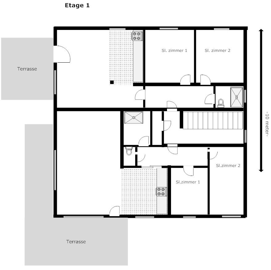 Huis plattegrond plattegrond huis slaapkamer beneden in for Huis inrichten op schaal